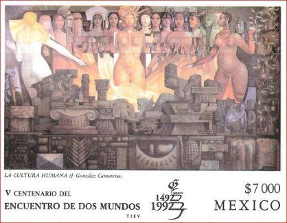 Estampilla postal, V centenario del encuentro de dos mundos, 1992.
