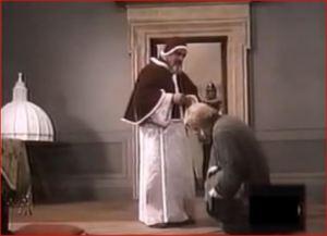 El padre Neri, de rodillas,  pide gracia para Casimiro.